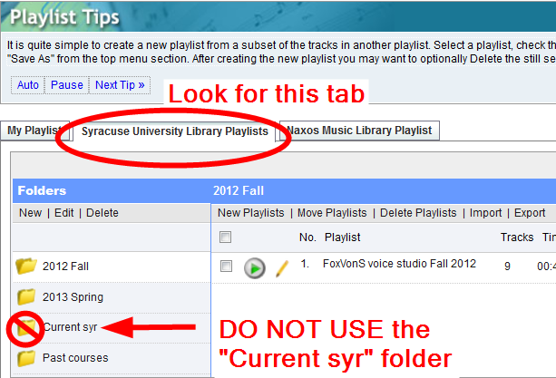 SU Library Playlists tab screenshot