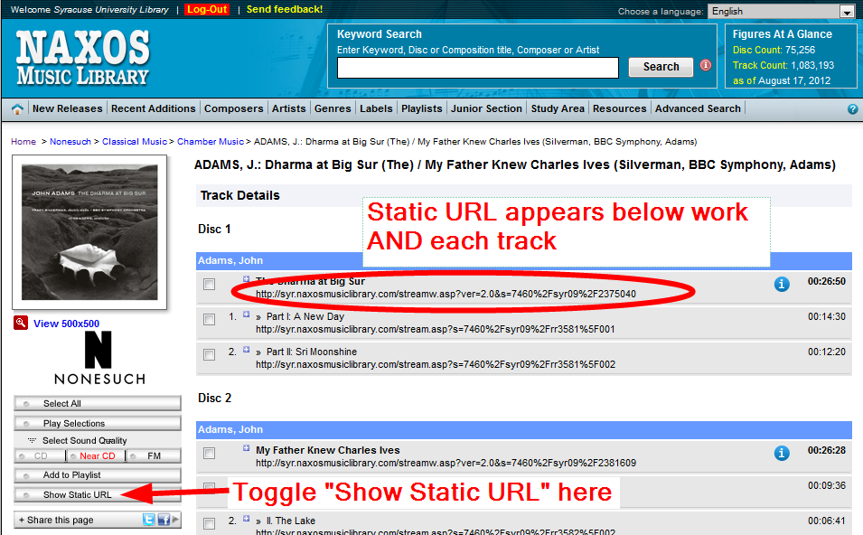 Static URL track screenshot