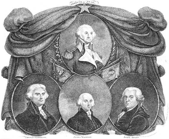"""""""First Four U.S. Presidents."""" Thomas Gimbrede. 1812. Library of Congress. Prints and Photographs Division. Engraving. American History Online. Facts On File, Inc. http://www.fofweb.com/activelink2.asp?"""