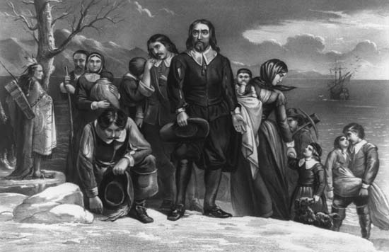 """Pilgrims Land at Plymouth."" Library of Congress. Prints and Photographs Division. American History Online. Facts On File, Inc. http://www.fofweb.com/activelink2.asp?"