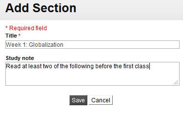 Add section window