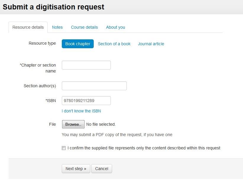 Submit a digitisation request