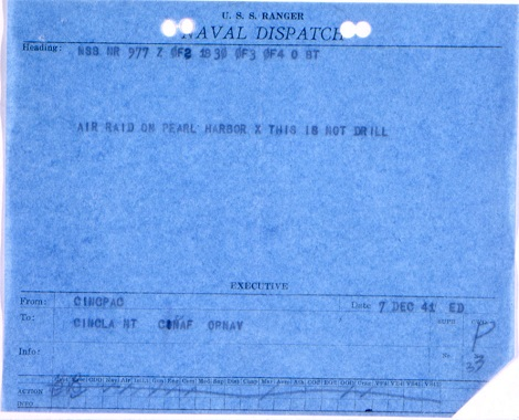 Naval dispatch announcing the raid on Pearl Harbor