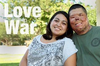 Wounded warrior and wife, image titled love in war