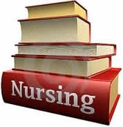 stack of nursing books