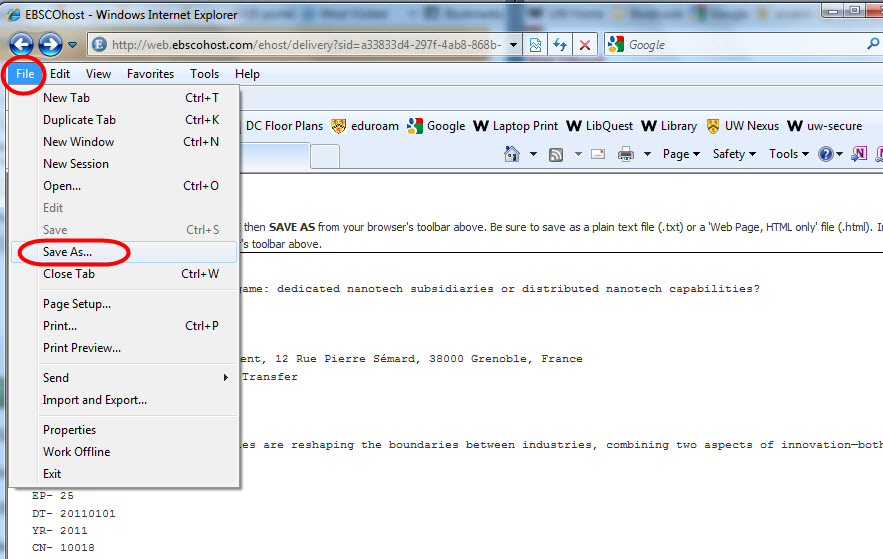 Screen shot demonstrating instructions
