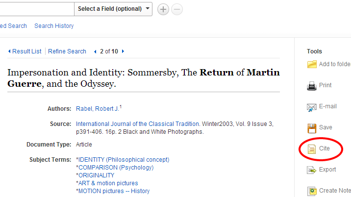 Screenshot showing the location of the Cite button on the right-hand side in EBSCOHost