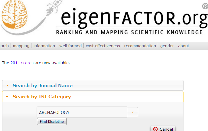Screenshot of Eigenfactor.org website