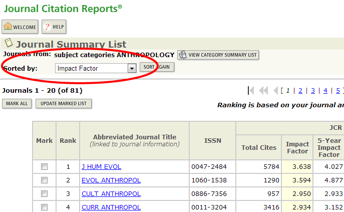 Screenshot of Journal Citation Reports Journal Summary List
