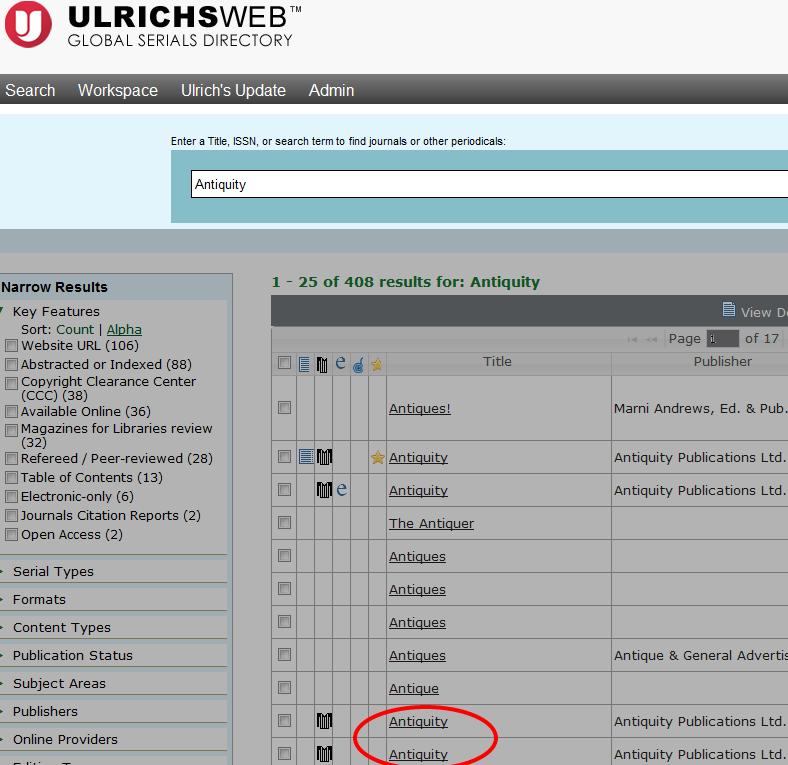 Ulrichs International Periodicals Directory