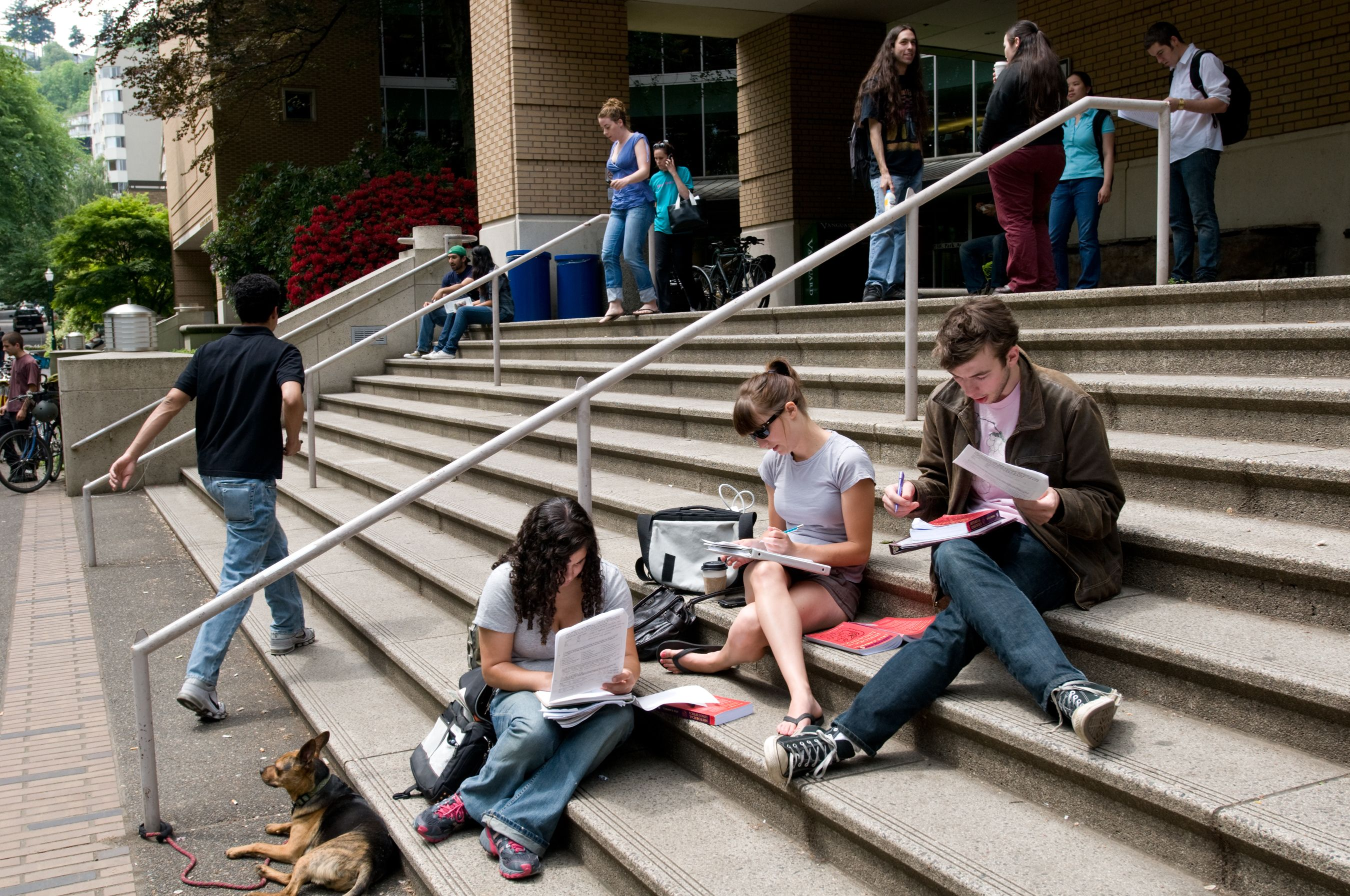 students on the steps of the PSU Library
