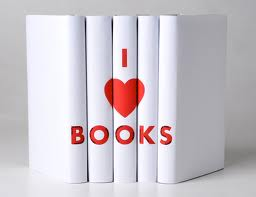 "Row of books with ""I Love Books"""