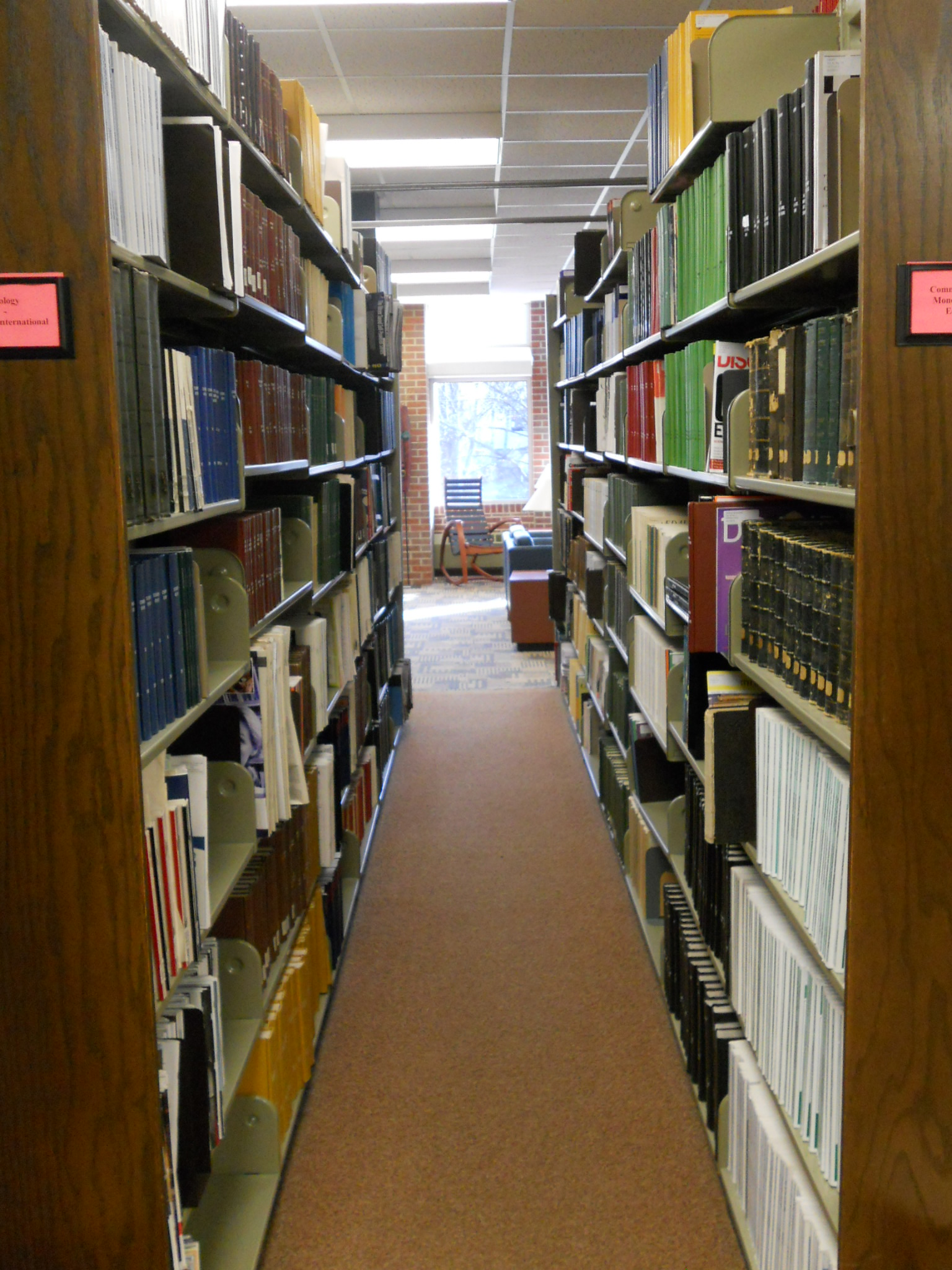 Print periodical stacks on the library's main level