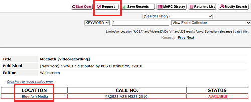 catalog record for a videorecording with a request option