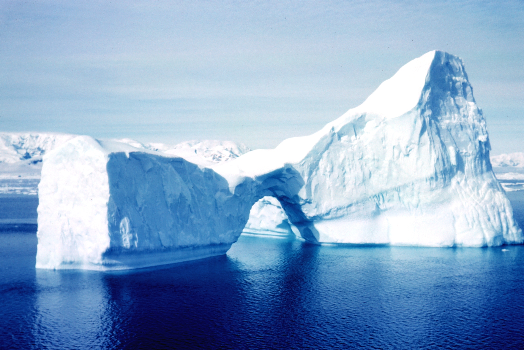 Image of an iceburg at sea.