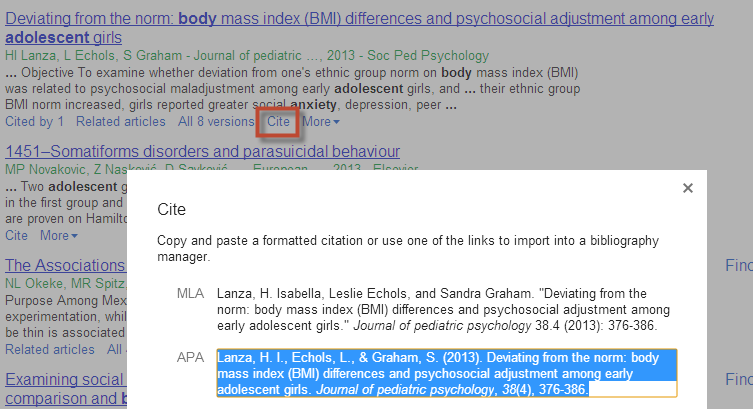 "Click ""cite"" from the Google Scholar result list to see an APA formatted citation"