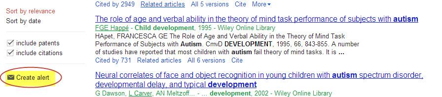 "Google Scholar ""create alert"" button"