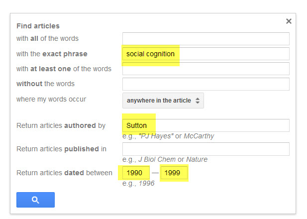 Example using the Advance Search fields in Google Scholar