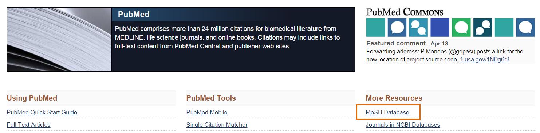 screenshot selecting MeSH Database