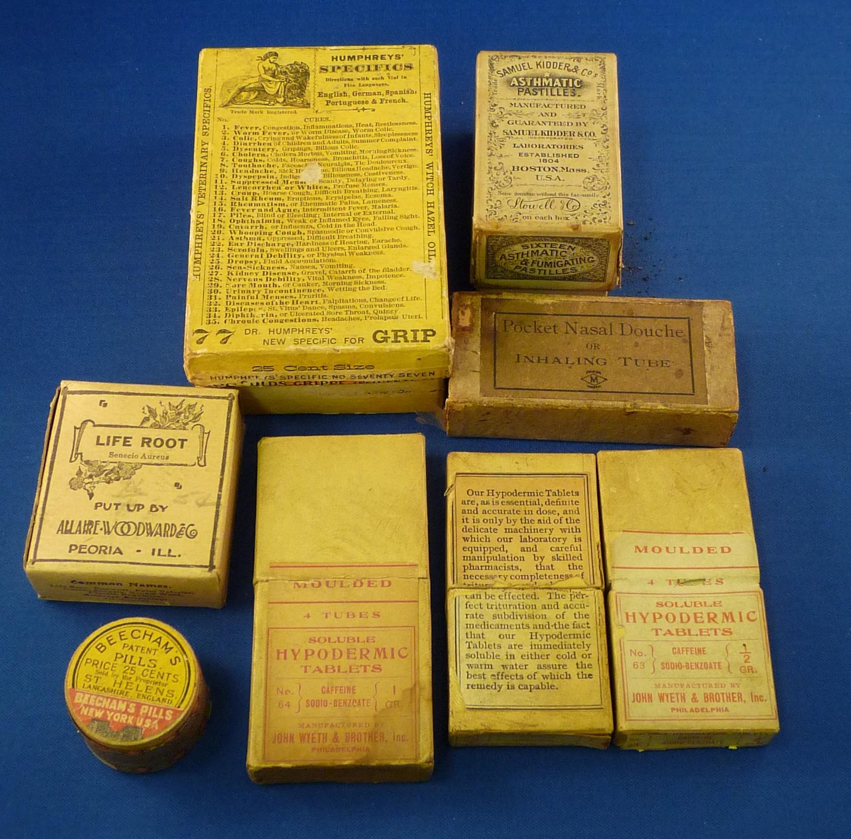 patent medicine boxes