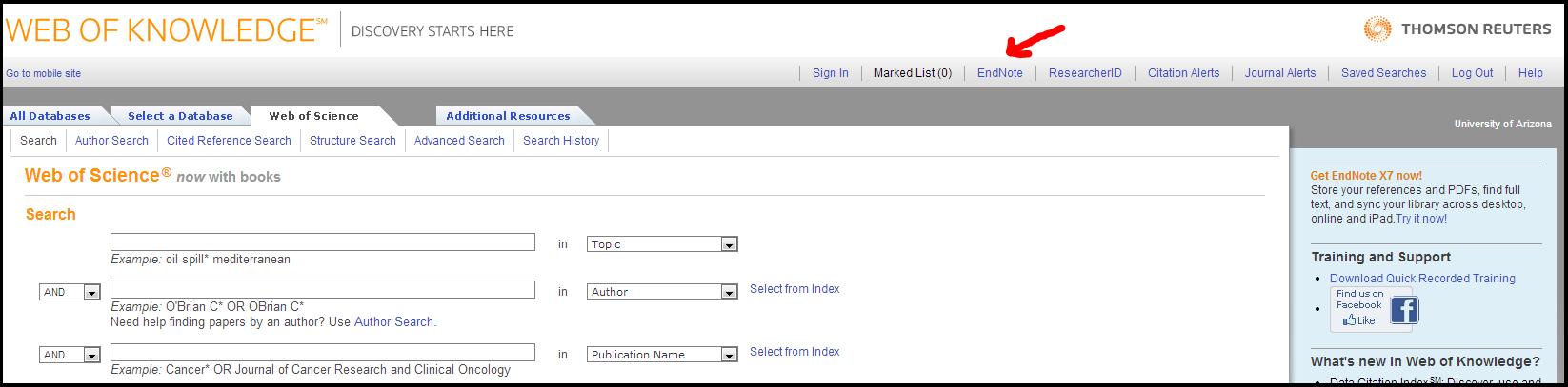 Web of Knowledge Screenshot