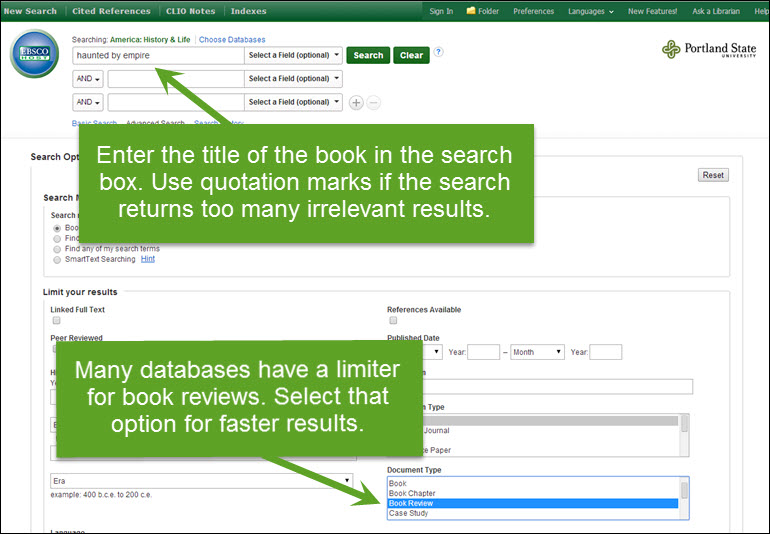 Screenshot of book review search limiter