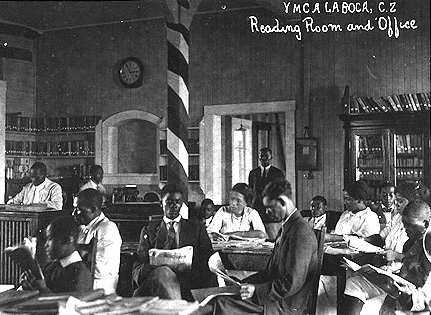 Group of African Americans in the Reading Room at the YMCA.