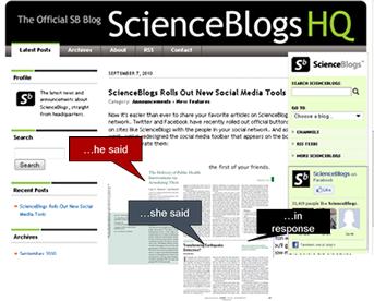 Screenshot of a Science Blogs blog post