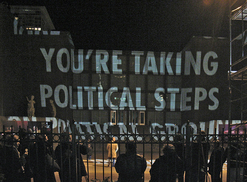 An election year projection by artist Jenny Holzer of Gallipolis, Ohio