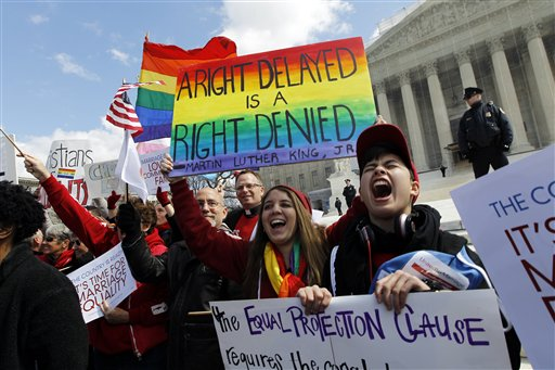 supports of marriage rights holding rainbow signs