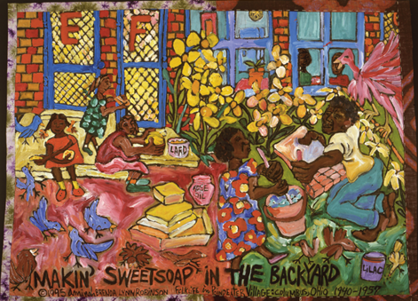 "Aminah Robinson's painting, ""Making Sweetsoap in the Backyard"""