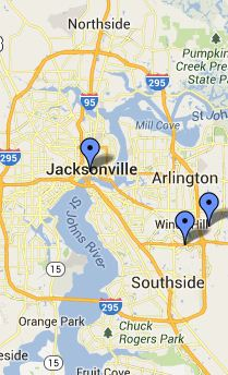 Map of Jacksonville Local Libraries