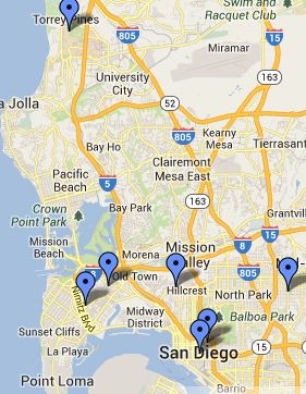 San Diego Map of Local Libraries