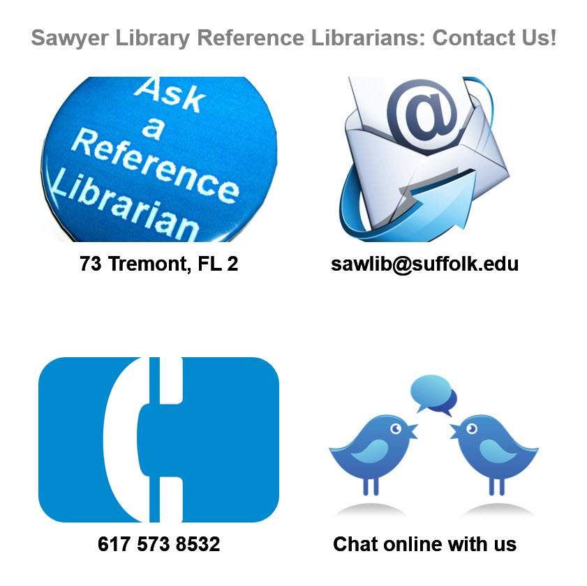 Contact Information Infographic for Reference Librarians: call 6175738532 or email sawlib@suffolk.edu