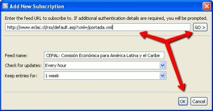 Dialog box to add new subscription.