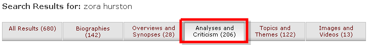 Analyses & Criticism tab