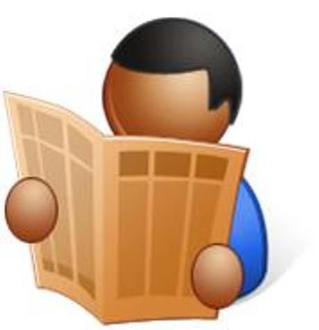 cartoon of man reading newspaper