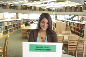 CCRI Student in Knight Campus Library