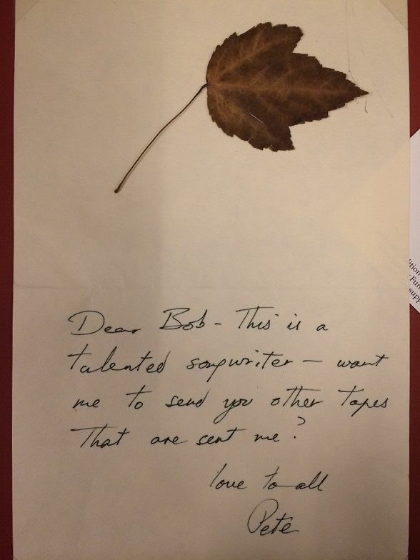 """Note from Seeger to Sherman - Text: """"Dear Bob - This is a talented songwriter - want me to send you other take that are sent me? Love to all, Pete"""""""