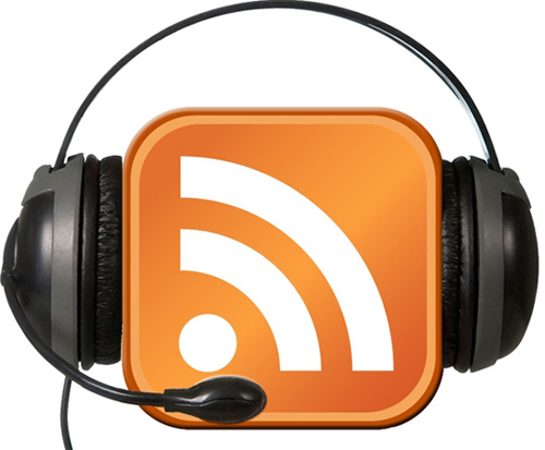 rss feed logo with headphones