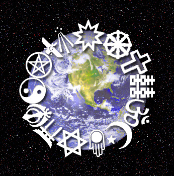Image of the earth with different religious symbols overlaid