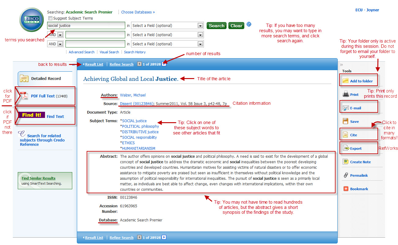 Annotated EBSCO Screen