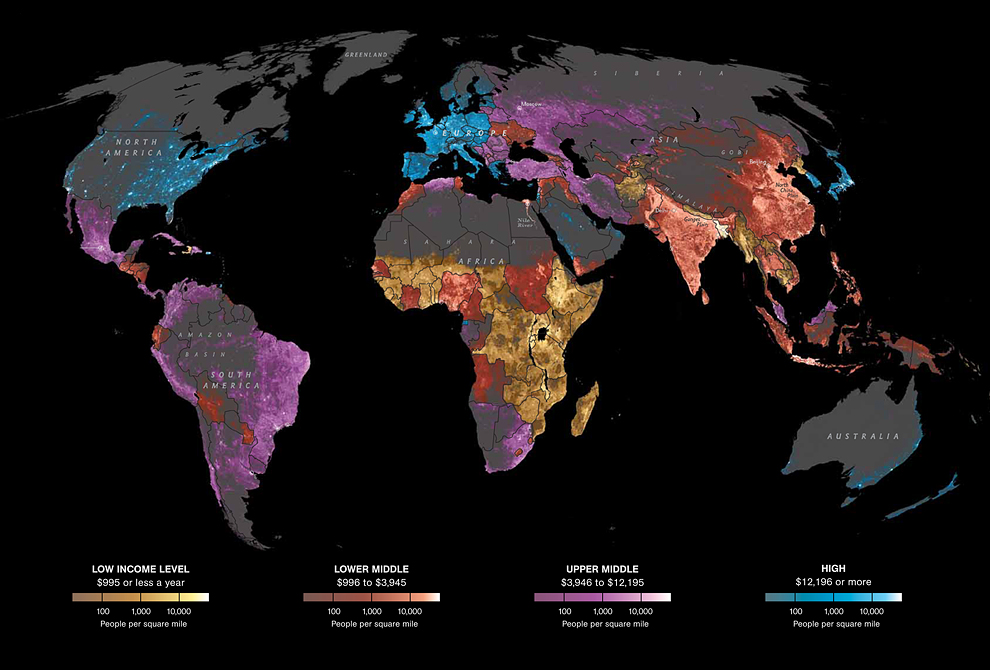 Hotspot map of the globe showing where people live