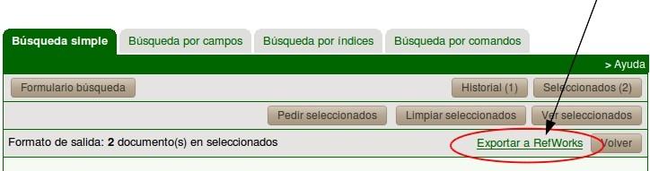 """Localización del enlace """"Exportar a RefWorks"""" en la parte superior derecha del listado de registros seleccionados"""
