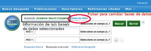 Localización en la pantalla de búsqueda de EBSCOhost de la información de las bases de datos seleccionadas y del enlace Bases de datos para modificar la selección. Ambos situados sobre el cajetín de búsqueda