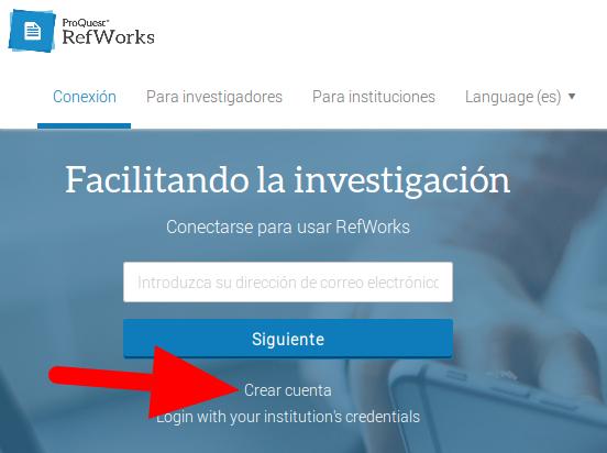 Página de conexión de RefWorks, donde una fecha señala la ubicación de la opción Crear cuenta, bajo el botón Siguiente