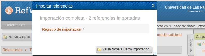 Vista del portal de RefWorks con una ventana emergerte que informa de que la importación se ha completado
