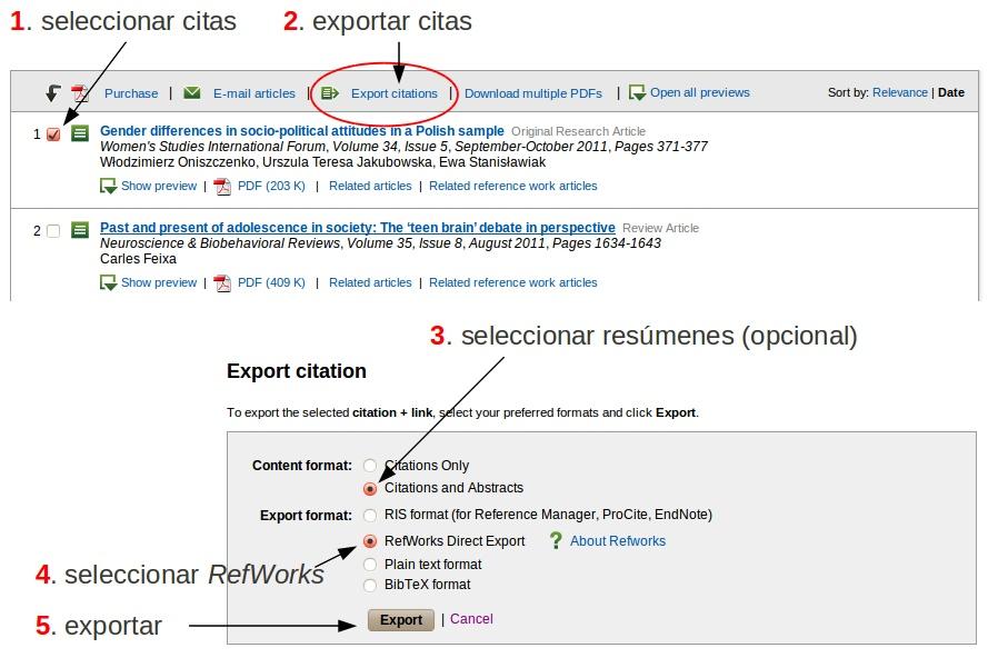 Localización de los enlaces con las opciones de exportación de citas a RefWorks