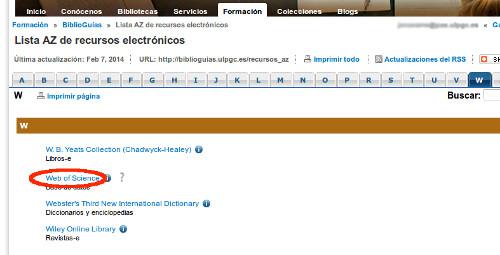 """Vista de la sección central de la página W de la Lista AZ de recursos electrónicos de la Biblioteca, donde una línea roja rodea el acceso """"Web of Science (WOS)"""" mostrando su ubicación en el segundo lugar de la lista."""