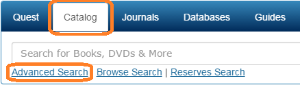 Screenshot of the Catalog tab and the Advanced Search link